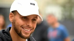 Le meneur star de Golden State Stephen Curry de passage à Paris, le 13 septembre 2018