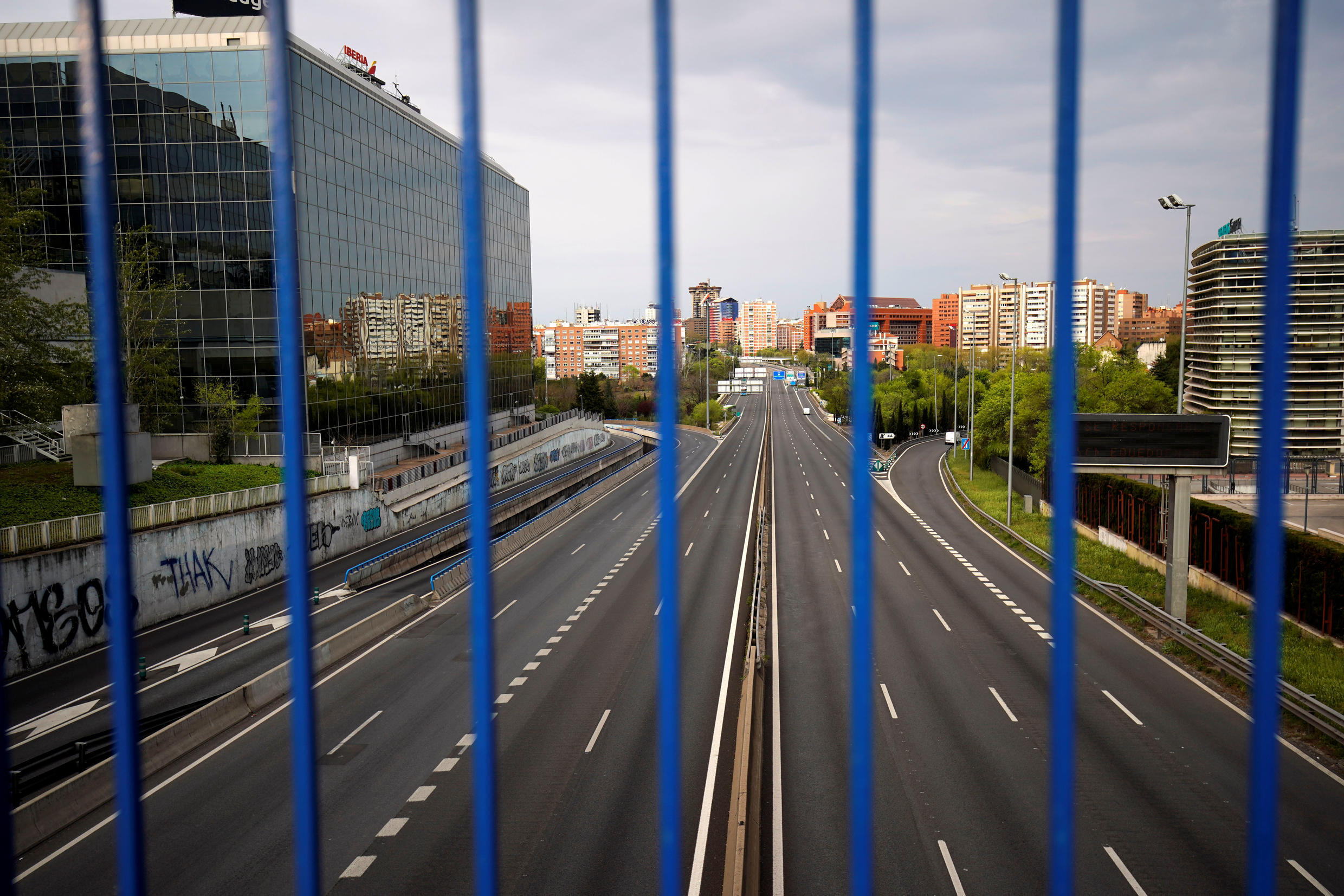The A2 motorway is seen almost empty during the coronavirus lockdown in Madrid, Spain, March 30, 2020.