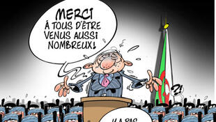 """Thank you all for coming here in such huge numbers."" ""You're welcome.""The Algerian election as viewed by media cartoonist Dilem."