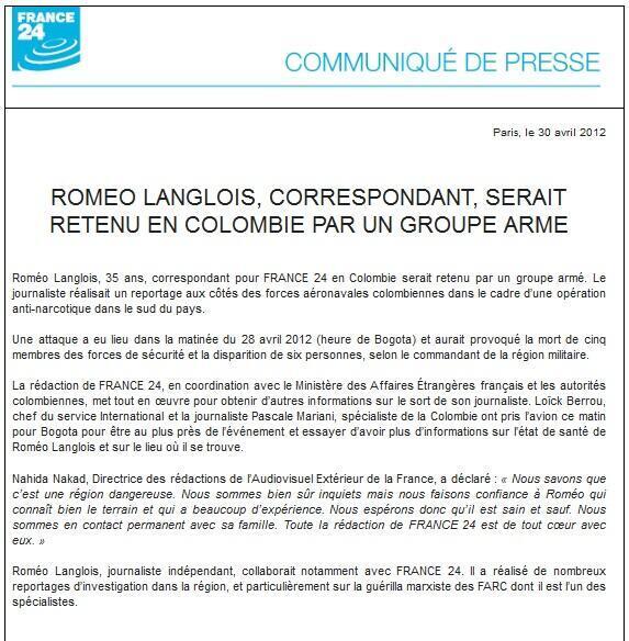 Communiqué de France 24 le 30/04
