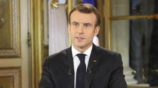 Emmanuel Macron lors de son allocution à l'Élysée, le 10 décembre 2018.