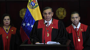 The chief justice of Venezuela's supreme court, Maikal Jose Moreno Perez (C), seen in Caracas in June 2020, has been indicted in the United States on money laundering charges