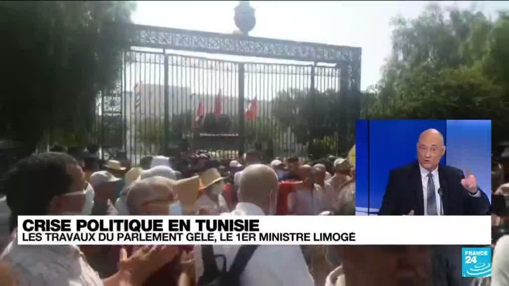 2021-07-26 15:03 Crise politique et sanitaire en Tunisie : des affrontements devant le Parlement