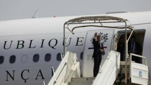 الرئيس الفرنسي إيمانويل ماكرون في واغادوغو في 29 تشرين الثاني/نوفمبر 2017