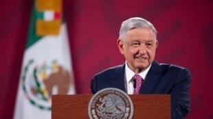 El presidente mexicano, Andrés Manuel López Obrador, durante una rueda de prensa en la que ratificó que viajará a EE.UU. para reunirse con su homólogo estadounidense, Donald Trump. En Ciudad de México, México, el 29 de junio de 2020.