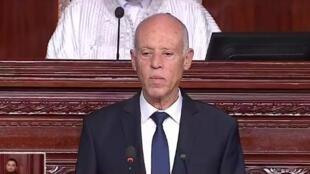 Le nouveau président de la République de Tunisie, Kaïs Saïed, le 23 octobre 2019.