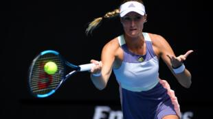 Kristina Mladenovic lors de l'Open d'Australie à Melbourne, le 21 janvier 2020