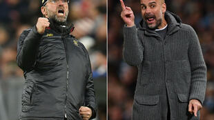 Pep Guardiola (right) hit back at Jurgen Klopp's claim Manchester City enjoyed a 'break' during a coronavirus outbreak in December
