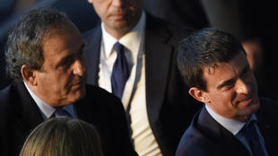 Michel Platini et Manuel Valls, le 6 juin, au stade Olympique de Berlin.