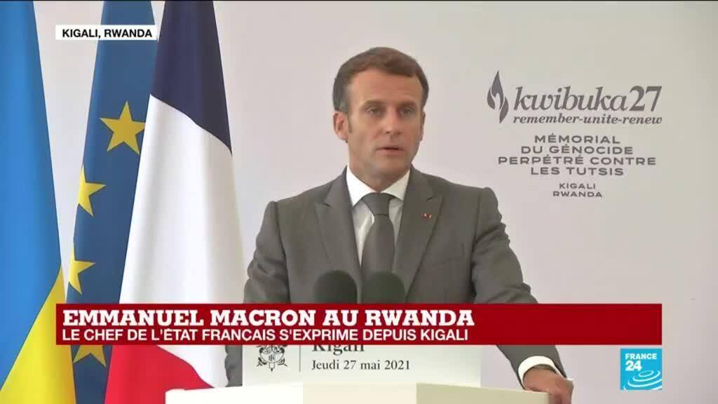 """2021-05-27 11:16 Rwanda : """"Je viens reconnaître nos responsabilités"""" dans le génocide, dit Emmanuel Macron à Kigali"""