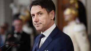 Le premier ministre italien désigné, Giuseppe Conte, annonce la composition de son nouveau gouvernement, le 4 septembre 2019, au palais présidentiel Quirinale de Rome.