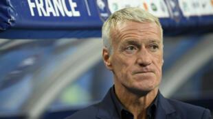Le sélectionneur Didier Deschamps lors du match du Groupe H France-Andorre, le 10 septembre, au Stade de France, près de Paris.