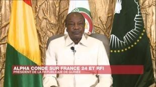 Le président de la République de Guinée, Alpha Condé, dans un entretien accordé à France 24 et RFI, le 6 octobre 2020.