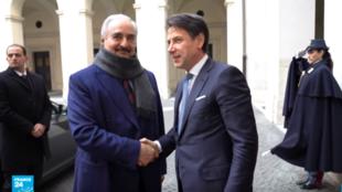 المشير خليفة حفتر مع رئيس الحكومة الإيطالية جوزيبي كونتي