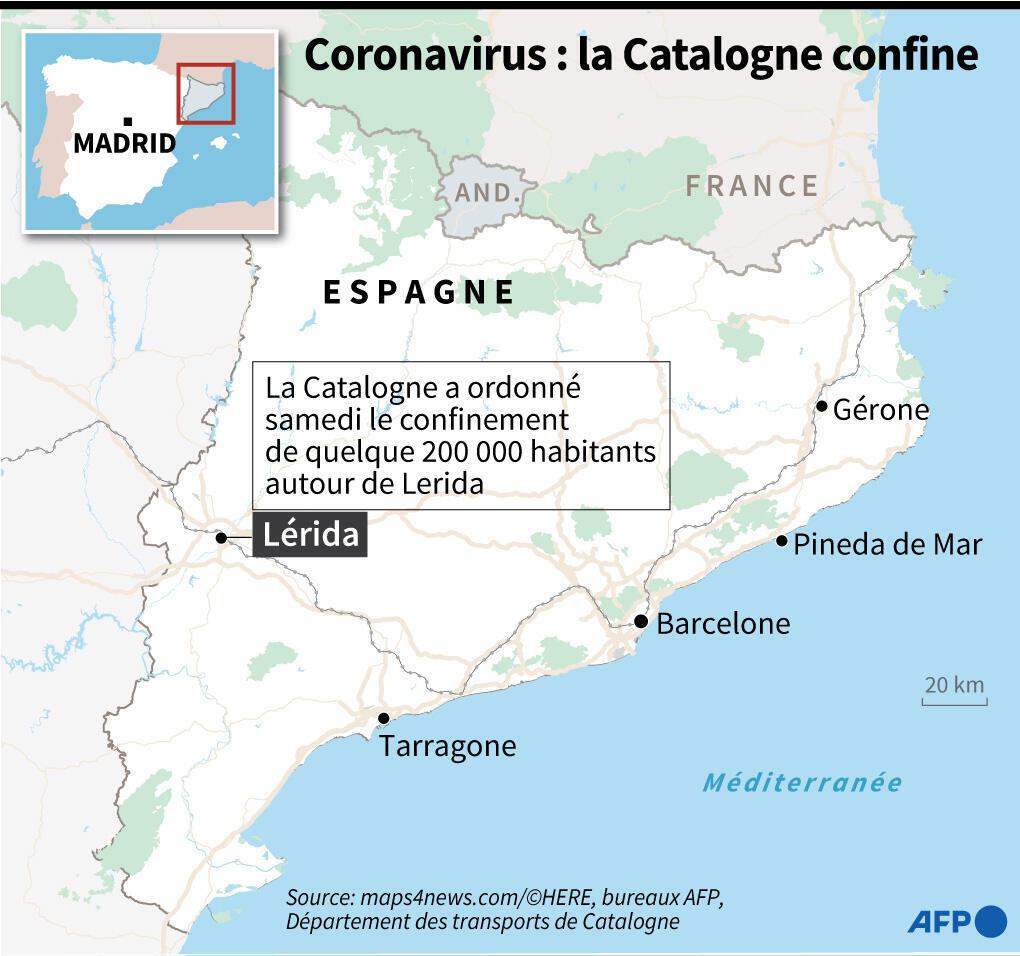 Carte de la Catalogne, avec localisation de Lérida, ville autour de laquelle la région a ordonné samedi le confinement de quelque 200.000 personnes