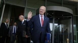 UN envoy to Syria Staffan de Mistura leaves a hotel in the Syrian capital Damascus on October 24