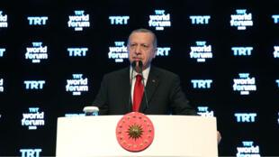 Le président turc Recep Tayyip Erdogan s'exprime à Istanbul, le 21 octobre 2019.