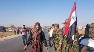 الجيش السوري في بلدة تل تمر شمال شرق البلاد. 14 أكتوبر/تشرين الأول 2019.