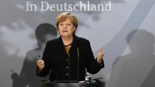 La chancelière allemande Angela Merkel lors d'un discours à Berlin, le 7 décembre 2015.