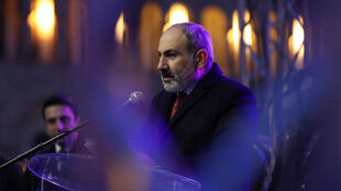 Armenian Prime Minister Nikol Pashinyan delivers a speech during a rally held by his supporters in Republic Square in Yerevan, Armenia March 1, 2021.