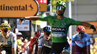 Douzième victoire pour Peter Sagan dans le Tour de France, à Colmar, lors de la 5e étape, le 10 juillet.