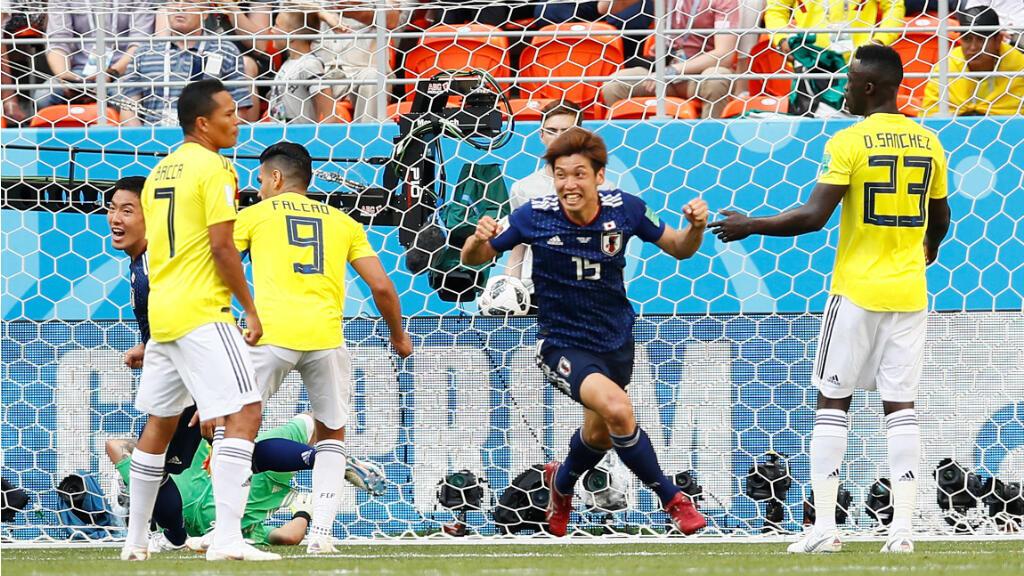 Yuya Osako celebra el segundo gol de Japón contra Colombia