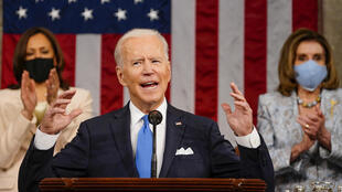 Le président Joe Biden s'adressant au Congrès le 28 avril 2021 à Washington