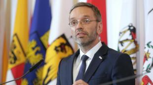 Le ministre de l'Intérieur autrichien, Herbert Kickl, lors d'une conférence de presse à Vienne,  le 3 juillet 2018.