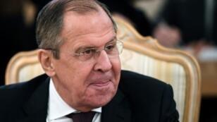وزير الخارجية الروسي سيرغي لافروف خلال لقاء في موسكو في 24 تشرين الثاني/نوفمبر.