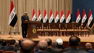 Le nouveau Premier ministre irakien Adel Abdoul Mahdi devant le parlement irakien à Bagdad, le 24 octobre 2018.