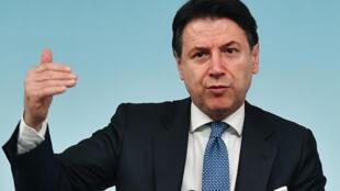 El primer ministro italiano, Giuseppe Conte, en una conferencia de prensa en Roma, el 4 de marzo de 2020