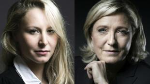 Marion Maréchal-Le Pen (g) et Marine Le Pen (d) comptent profiter de la crise des Républicains pour rassembler.