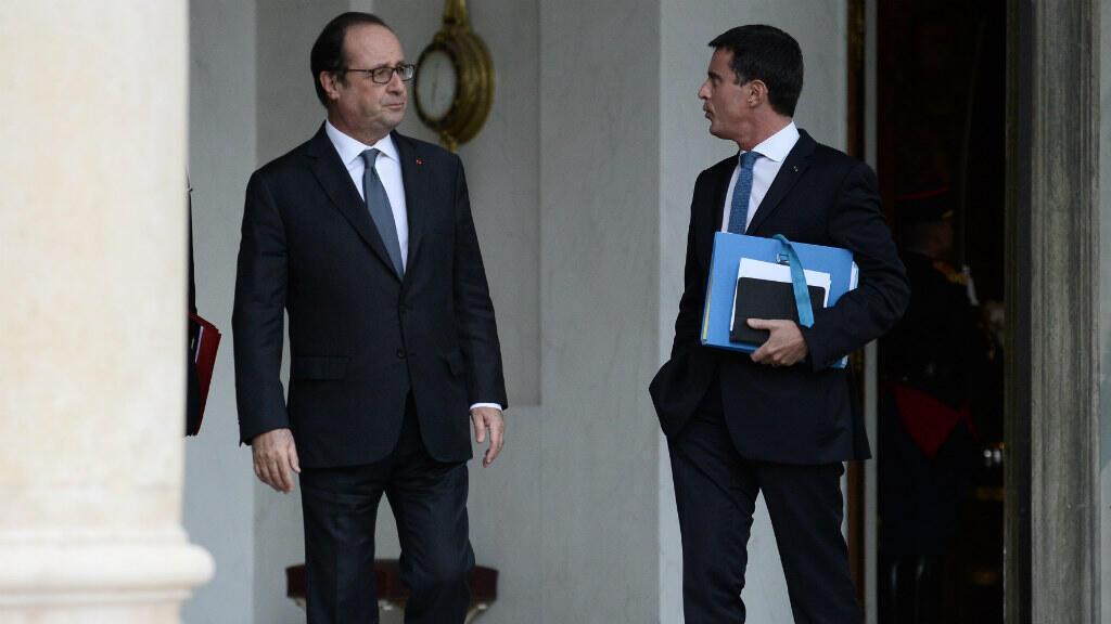 François Hollande et Manuel Valls, à l'Élysée, le 28 septembre 2016.