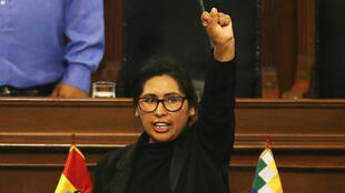 Senator Monica Eva Copa Murga, of the Movement Toward Socialism (MAS) party, gestures after being sworn in as president of the Bolivian Senate in La Paz, Bolivia November 14, 2019.