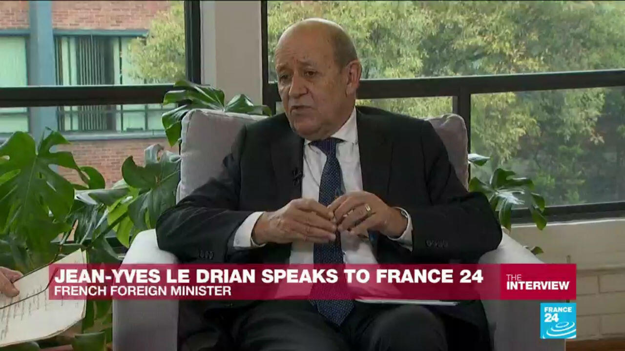 Jean-Yves Le Drian speaks with France 24 in Mexico on December 20 2019.