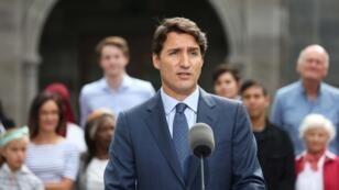 Le Premier ministre canadien, Justin Trudeau, en conférence à Ottawa, le 11septembre2019.