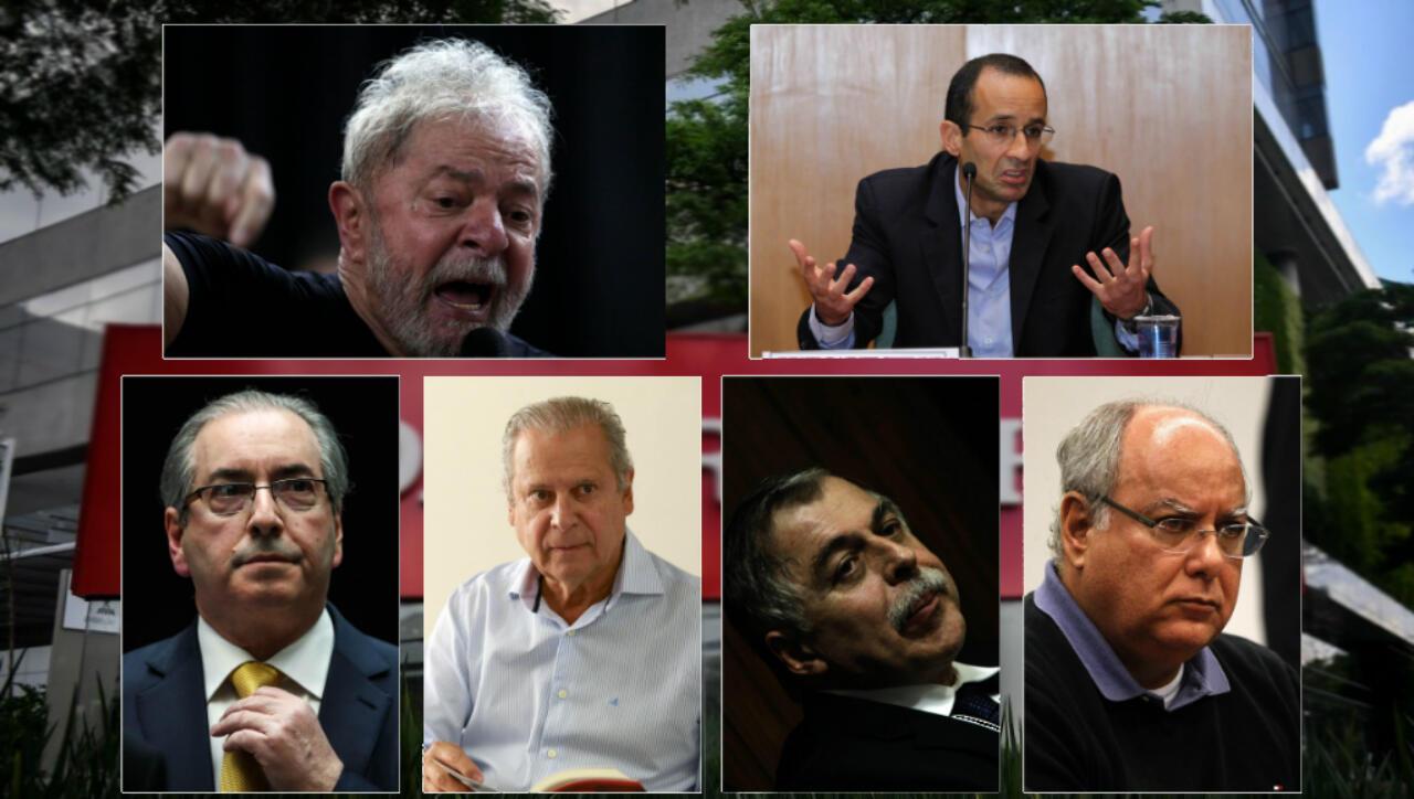 Algunas de las personalidades involucradas en el caso Lava jato: el expresidente Luiz Inácio Lula da Silva, Marcelo Odebrecht, Eduardo Cunha, José Dirceu, Paulo Roberto Costa y Renato Duque.