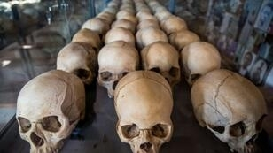 Dark past: Skulls of victims at the genocide memorial in Kigali. More than 800,000 people, most of them Tutsis, were slaughtered