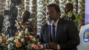 Le président congolais Joseph Kabila s'exprime lors d'une conférence de presse à Kinshasa, le 26 janvier 2018.