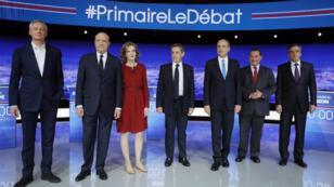 Les candidats de la primaire de la droite Nathalie Kosciusko-Morizet, Jean-Frédéric Poisson, Jean-François Copé, François Fillon, et Bruno Le Maire.
