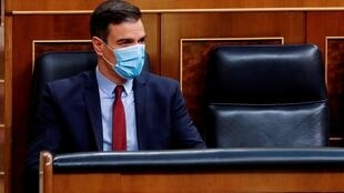 File photo: Spanish Prime Minister Pedro Sanchez wears a protective mask as he attends a plenary session amid the Covid-19 outbreak, at the Parliament in Madrid, Spain, May 20, 2020.