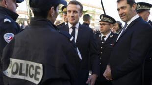 Le ministre de l'Intérieur, Christophe Castaner, en visite dans un commissariat de Mulhouse, le 18 février 2020.