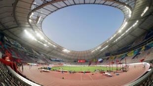 Vue générale du Khalifa International Stadium de Doha, au Qatar, où ont lieu les Mondiaux d'athlétisme du 27septembre au 6octobre2019.