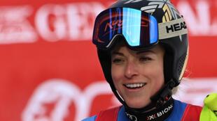 La Suissesse Lara Gut-Behrami, à l'arrivée du Super-G de Coupe du monde, le 1er février 2021 à Garmisch-Partenkirchen (Allemagne)