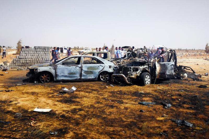 صورة أرشيفيه لهجوم بمدينة بنغازي. 11 يوليو/ تموز 2019.