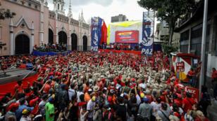 """Simpatizantes chavistas participan en una manifestación en apoyo al Gobierno de Nicolas Maduro y contra el informe sobre los Derechos Humanos presentado por la ONU que calificaron de """"sesgado"""". Caracas, Venezuela. 13/07/2019."""