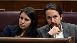 Irene Montero et Pablo Iglesias au Parlement espagnol à Madrid, le 11 octobre 2017.