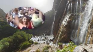 Screenshot del video de los turistas bailando y la cascada de Margoon vista por Google Maps.