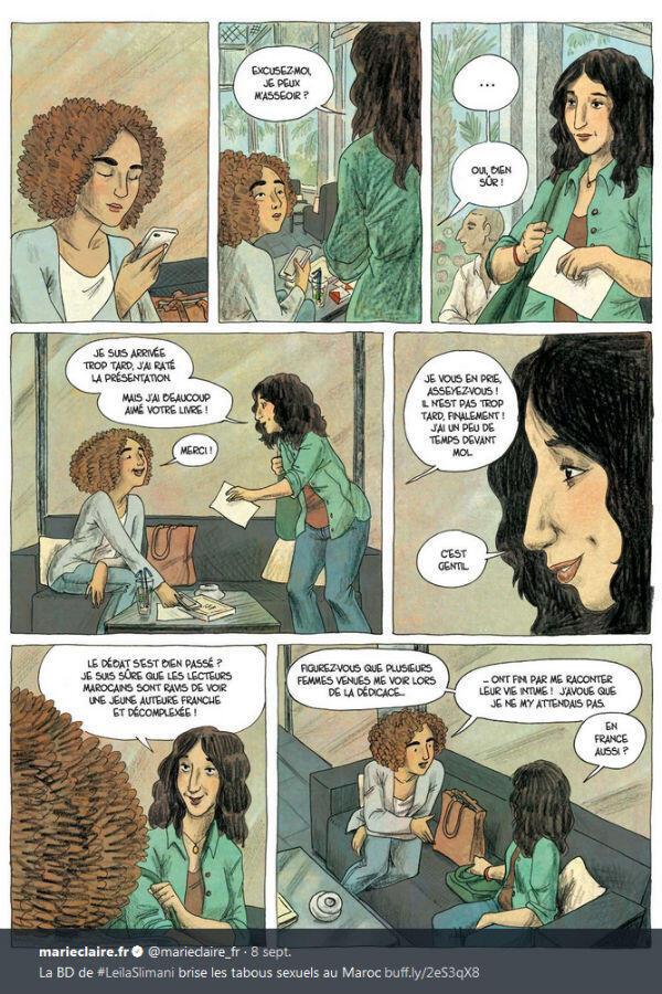 """Leïla Slimani a également publié un roman graphique """"Paroles d'honneur"""" avec la dessinatrice Laëtitia Coryn, adapté de son essai """"Sexe et mensonges""""."""