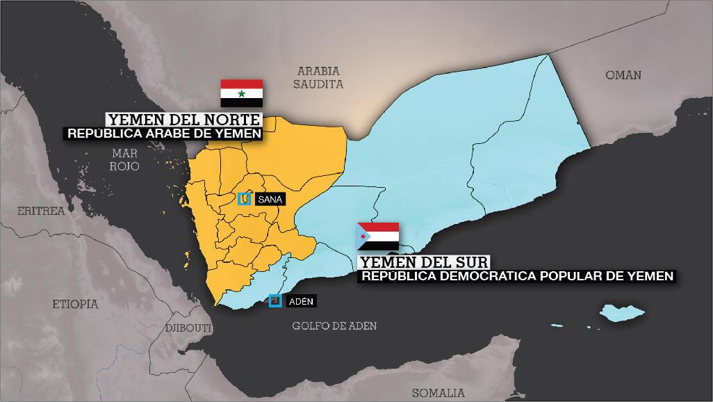 La actual República de Yemen nació en 1990 tras la unificación de la República Árabe de Yemen (Yemen del Norte) y la República Popular Democrática de Yemen (Yemen del Sur), reflejados en el mapa.